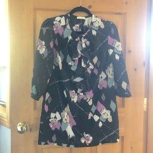 UO Silence + Noise Black Long Sleeve Mini Dress